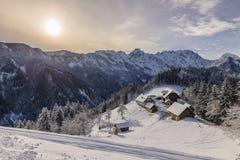Winter landscape with farm, Slovenia. Royalty Free Stock Photo