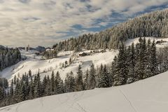 Winter landscape with farm, Slovenia. Royalty Free Stock Photography