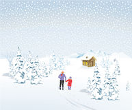 Winter landscape with father and child Stock Images