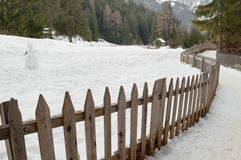 Winter landscape fence Stock Photo