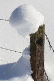 Winter landscape with fence Stock Photos