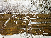 Winter landscape, fence with snow Stock Photos