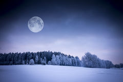 Winter Landscape. Field Covered with Snow. Frozen Forest and Full Moon stock photos