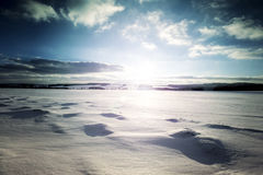 Winter Landscape. Field Covered with Snow and Sun stock photo