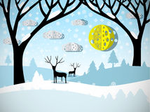 Winter Landscape. Field Covered with Snow, Trees and Deer Stock Photography