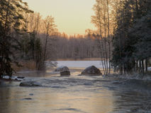 Winter landscape. Landscape at winter in Finland. River is still open Royalty Free Stock Photos