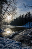 Winter landscape. Landscape at winter in Finland. River is still open Stock Image