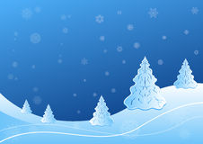 Winter landscape. With fir tree and snowflake shapes illustration Royalty Free Stock Photography