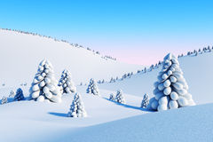 Winter landscape with fir trees. 3d rendering Royalty Free Stock Photography