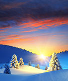 Winter landscape with fir trees. 3d rendering Stock Images