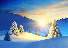 Winter landscape with fir trees. 3d rendering Stock Image