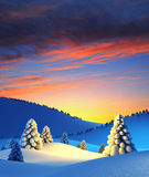 Winter landscape with fir trees. 3d render Royalty Free Stock Photography