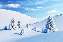 Winter landscape with fir trees. 3d rendering Stock Photos