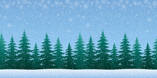 Winter landscape with fir trees and snow. Christmas Holiday Seamless Horizontal Background, Winter Woodland Landscape with Spruce Fir Trees and White Snowflakes Stock Image