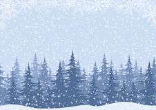 Winter landscape with fir trees and snow. Winter woodland landscape with spruce fir trees and snowflakes, white and blue silhouettes. Vector Stock Photo