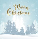 Winter landscape with fir trees. In the snow. Christmas greeting card. New Year holiday background Stock Images