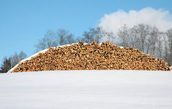 Winter landscape and firewood Royalty Free Stock Photography