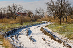 Winter landscape with first snow in Ukrainian village Novoaleksandrivka near Dnepropetrovsk city Royalty Free Stock Photos