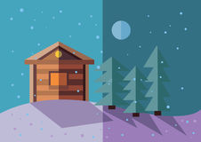 Winter landscape. flat illustration Stock Photography