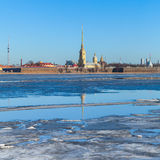 Winter landscape with floating ice on Neva river Stock Photos