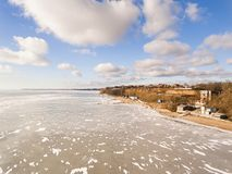 Winter landscape, fly over frozen sea. Stock Images