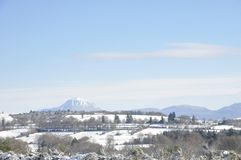 Winter landscape focused on Puy-de-dome mountain Stock Image