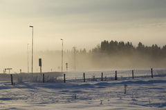 Winter landscape with fog and trees Royalty Free Stock Photo