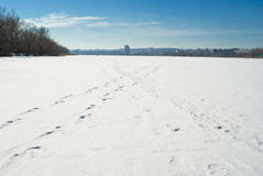 Winter landscape - footprints on a frozen river Stock Photography