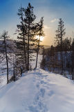 Winter landscape with footprints in the snow Stock Photos