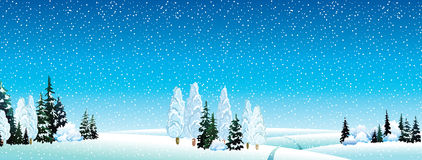 Winter landscape with forest Stock Photography