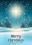 Christmas theme, winter forest with big star stock illustration