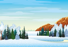 Winter landscape with forest and mountains Royalty Free Stock Photo