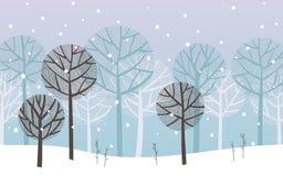 Winter landscape, forest under snowfall. stock illustration
