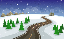 The winter landscape of forests, mountains, road and city. Royalty Free Stock Image