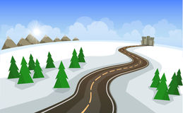 The winter landscape of forests, mountains, road and city. Stock Photo