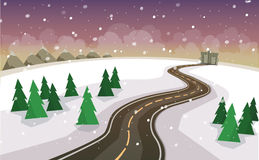 The winter landscape of forests, mountains, road and city. Royalty Free Stock Images