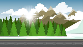 The winter landscape of forests, mountains, road and lake. Royalty Free Stock Image