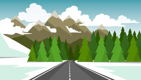 The winter landscape of forests, mountains, road and lake. Stock Photo