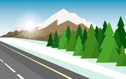 The winter landscape of forests, mountains, road and lake. Stock Photos