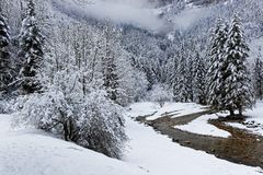 Winter landscape in French Alps Royalty Free Stock Photography
