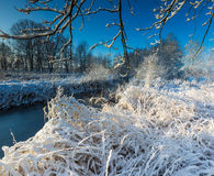 Winter landscape with frosted river and white snow Stock Images