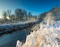 Winter landscape with frosted river and white snow Royalty Free Stock Photos