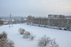 Winter landscape. Frosty winter in the city Royalty Free Stock Photos
