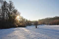 Winter landscape - frosty trees. Nature with snow. Beautiful seasonal natural background. Royalty Free Stock Image