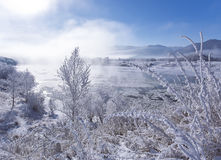 Winter landscape - frosty winter plants on the background of sunset and winter river cold mist, landscape winter view Stock Photo