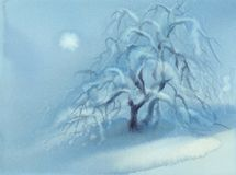 Winter landscape with frozen apple tree and snow. Watercolor illustration stock photos