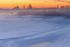 Winter landscape at frozen bay of Puck. Stock Photography
