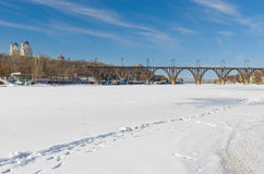 Winter landscape with frozen Dnepr river in Ukraine Royalty Free Stock Image