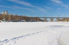 Winter landscape with frozen Dnepr river in Ukraine. Winter landscape with frozen Dnepr river in Dnepropetrovsk city, Ukraine royalty free stock image