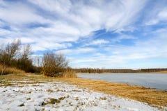 Winter landscape - frozen lake Stock Image